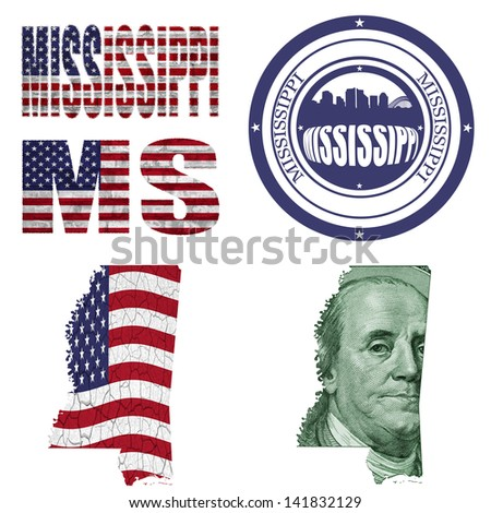 Mississippi state collage (map, stamp,word,abbreviation) in different styles in different textures - stock photo
