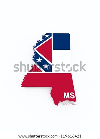 mississippi state flag on 3d map - stock photo