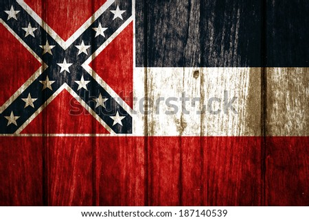 Mississippi State Flag painted on old wood background  - stock photo