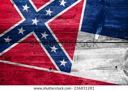 Mississippi State Flag painted on old wood plank texture - stock photo