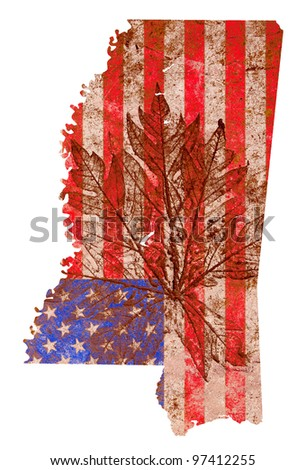 Mississippi state of the United States of America in grunge flag pattern isolated on white background - stock photo