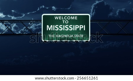 Mississippi USA State Welcome to Interstate Highway Road Sign at Night