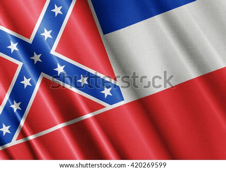 Mississippi waving flag close - stock photo