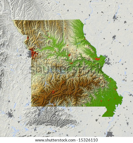 Missouri. Shaded relief map, with major urban areas and rivers, surrounding territory greyed out. Colored according to elevation. Clipping path for the state area included. Data source: NASA - stock photo