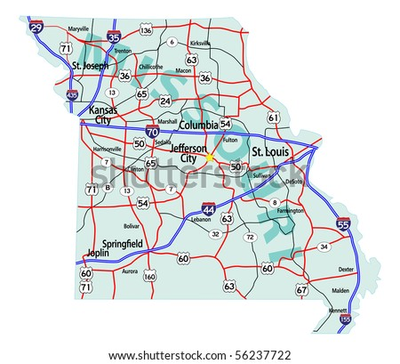 Missouri State Road Map With Interstates U S Highways And State Roads Raster Ilration