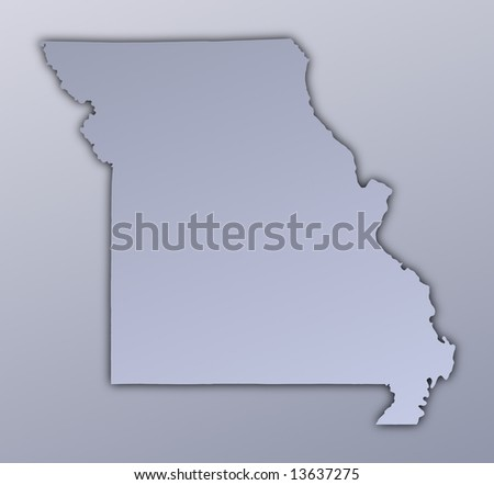 Missouri Usa Outline Map Shadow Detailed Stock Illustration - Missouri us map