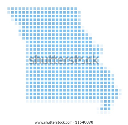 Missouri Usa Outline Map Shadow Detailed Stock Illustration - Missouri in usa map