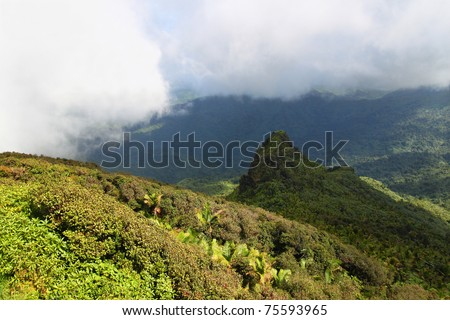 Mist covers the rainforest peaks of El Yunque National Forest in Puerto Rico - stock photo