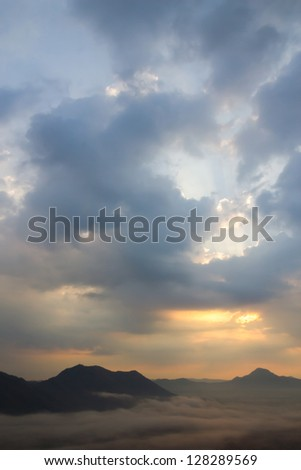 Mist over the mountains at Chiang Khan, Thailand - stock photo