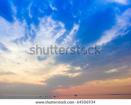 Mist Sunset Scene - stock photo