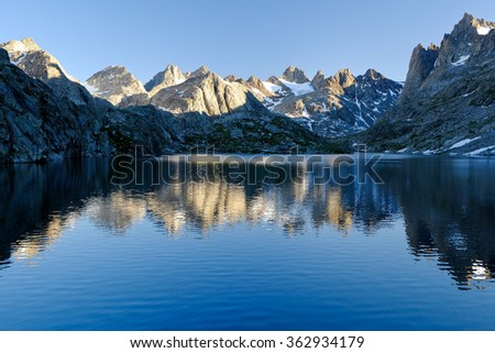 Mistake Lake and The The Wind River Range, Wyoming - stock photo