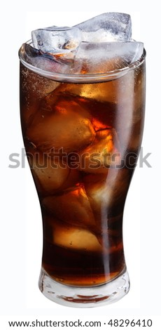 Misted Glass of cola with ice cubes