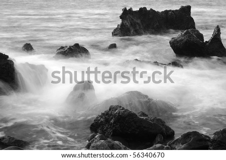 Mistery seascape in black and white. - stock photo
