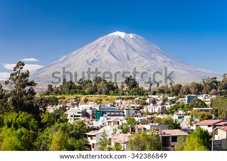 Misti, also known as Putina is a stratovolcano located in Arequipa, Peru - stock photo