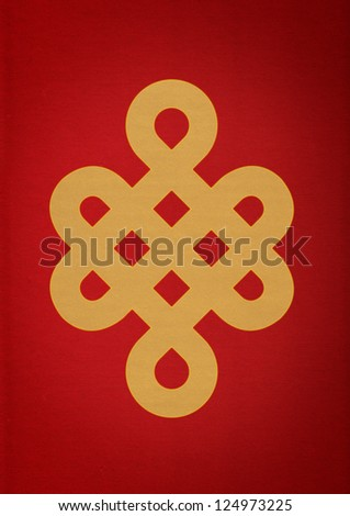 Mistic Knot on Red Paper - stock photo