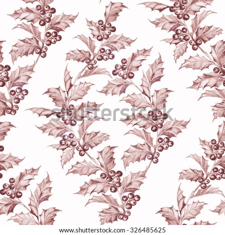 Mistletoe seamless pattern for christmas theme colored purple. Seamless christmas background with mistletoe branches. Watercolor painting. Sepia background. - stock photo