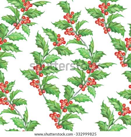 Mistletoe seamless pattern for christmas theme. Seamless christmas background with mistletoe branches. Watercolor painting. Watercolor handmade colorful floral seamless pattern with mistletoe. - stock photo