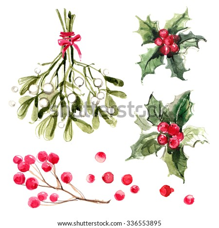 Mistletoe with red ribbon, holly branches with red berries. Christmas ornaments from the branches painted with watercolors on white background.  - stock photo