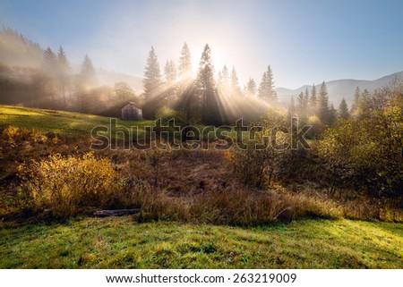 Misty autumn morning on the mountain hills - stock photo