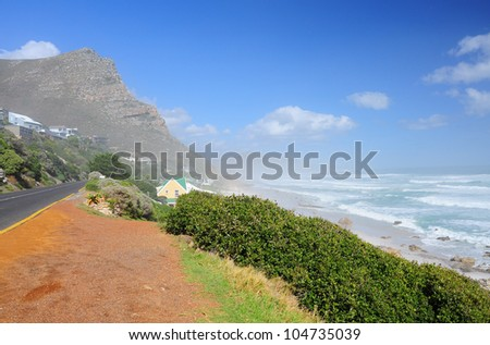 Misty cliffs, Scarborough in South Africa. This place always have the misty. - stock photo