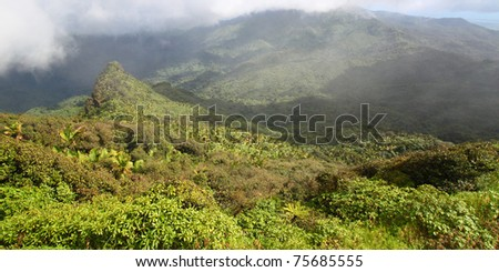 Misty clouds sweep over the rainforest in the mountains of El Yunque National Forest - Puerto Rico - stock photo