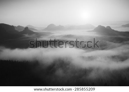 Misty daybreak in a beautiful hills. Peaks of hills are sticking out from foggy background. Black and white photo. - stock photo