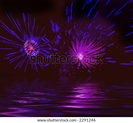 Misty firework. Illustration - stock photo