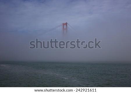 Misty Golden Gate Bridge - stock photo