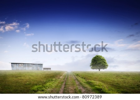 Misty landscape - stock photo