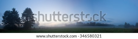 Misty meadow landscape at dawn - stock photo