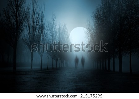 Misty moonlit night with strange figures passing by - stock photo