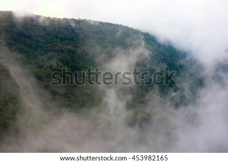 Misty morning after heavy rain. View of mountain full of fresh spring mist,soft focus - stock photo