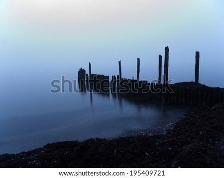 misty morning at the Island of Ruegen in Germany
