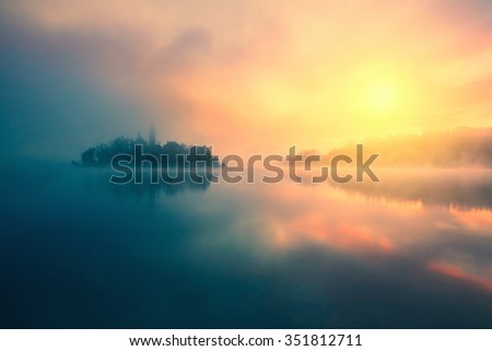 Misty morning in lake Bled-Slovenia