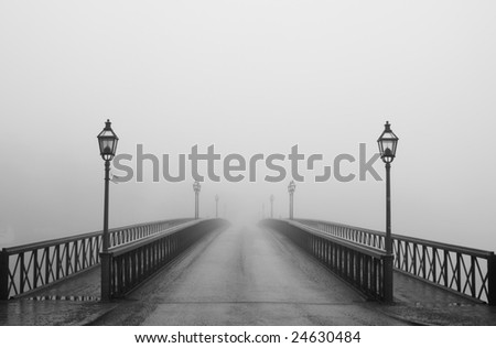 Misty morning in Stockholm - stock photo