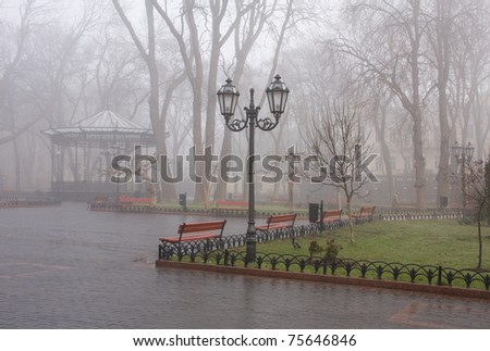 misty morning is in Odessa municipal gardens - stock photo