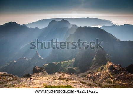 Misty morning on Madeira's Pico Ruivo