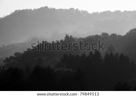 Misty Mountain Sunrise, Webster County, West Virginia, USA - stock photo