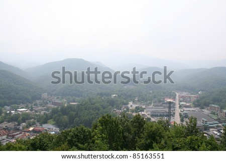 Misty mountains in Gatlinburg, Tennessee with the city in view.