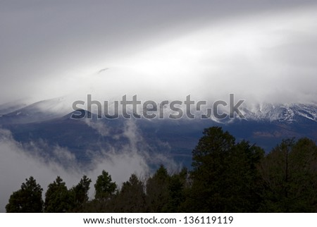 Misty Mt. Fuji, Fuji-Hakone-Izu National Park, Japan - stock photo