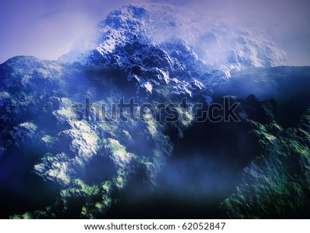 Misty rocky mountains - stock photo