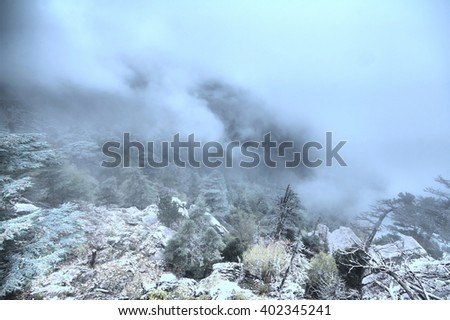 misty scenery of the Taurus mountains summer - stock photo