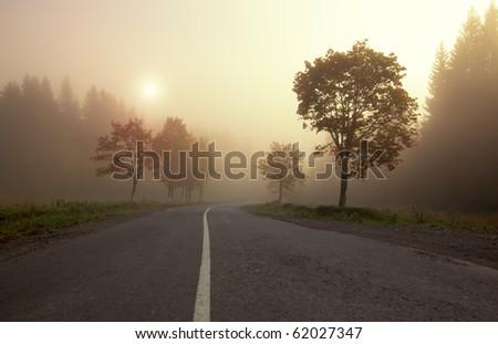 Misty sunrise on mountain autumn forest road - stock photo