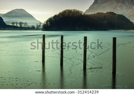 Misty view of Piano Lake (Como - Italy)