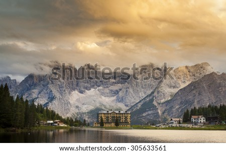 Misurina Lake at sunset in Dolomites Mountains