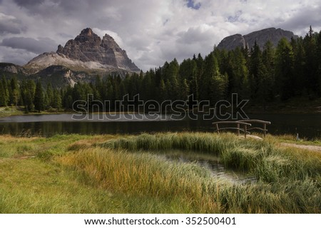 Misurina Lake in the Dolomites, Italy, Europe - stock photo