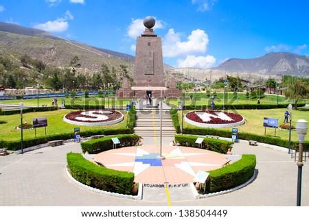 Mitad Del Mundo (Middle of the World) Monument near Quito, Ecuador. - stock photo