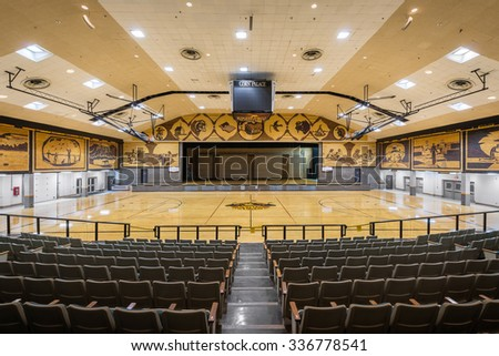MITCHELL, SOUTH DAKOTA - OCTOBER 27: Interior of the Corn Palace on Main Street on October 27, 2015 in Mitchell, South Dakota  - stock photo