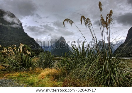 Mitre Peak, New Zealand - stock photo