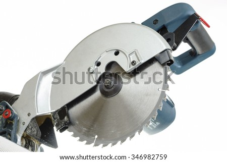 Mitre saw blade isolated on white - stock photo